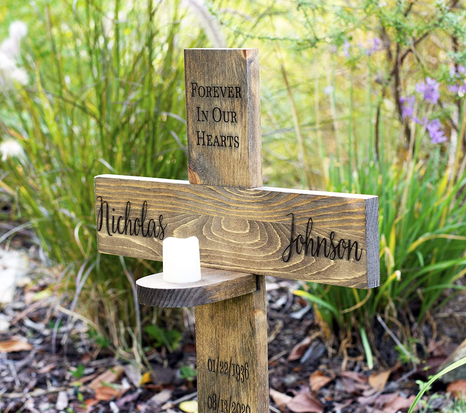 Personalized for your Loved One Memorial Cross with Flame-less Candle or Vase