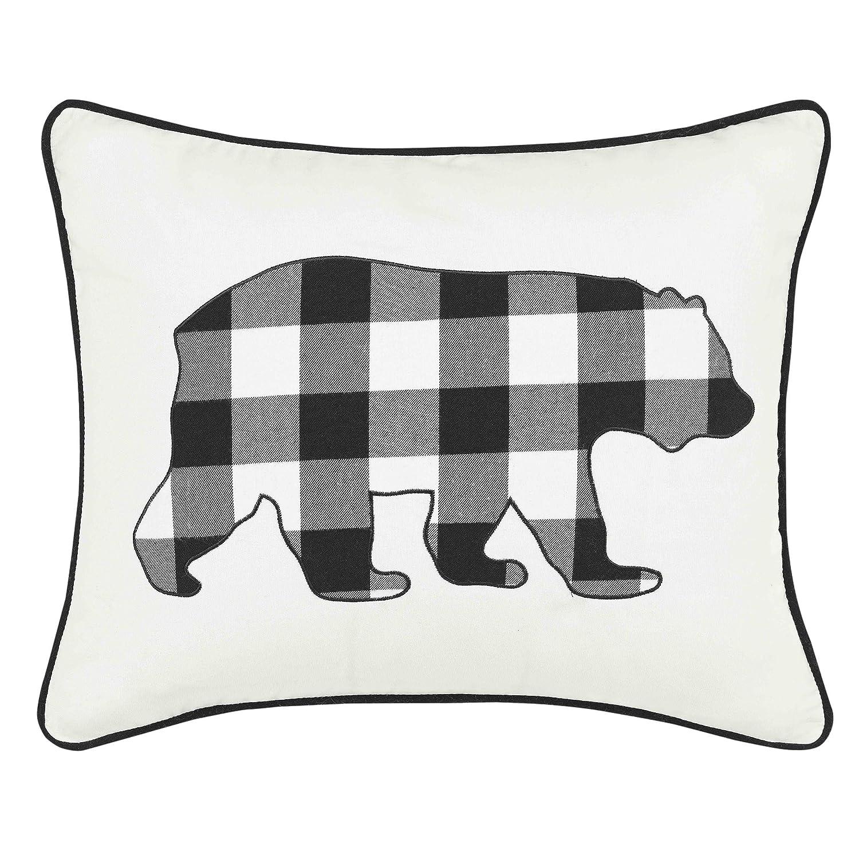 Eddie Bauer Cabin Plaid Bear Throw Pillow, 16x20, Black