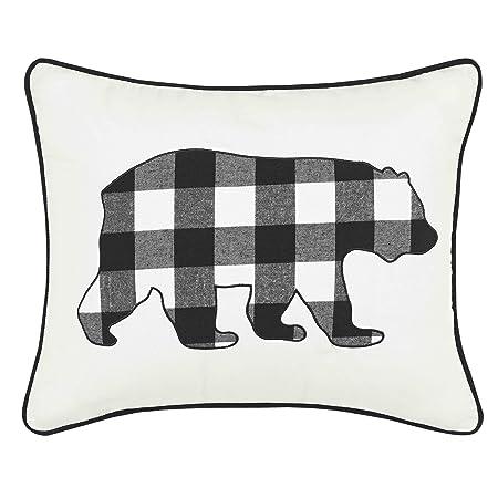 Eddie Bauer Cabin Plaid Bear Throw Pillow, 16×20, Black