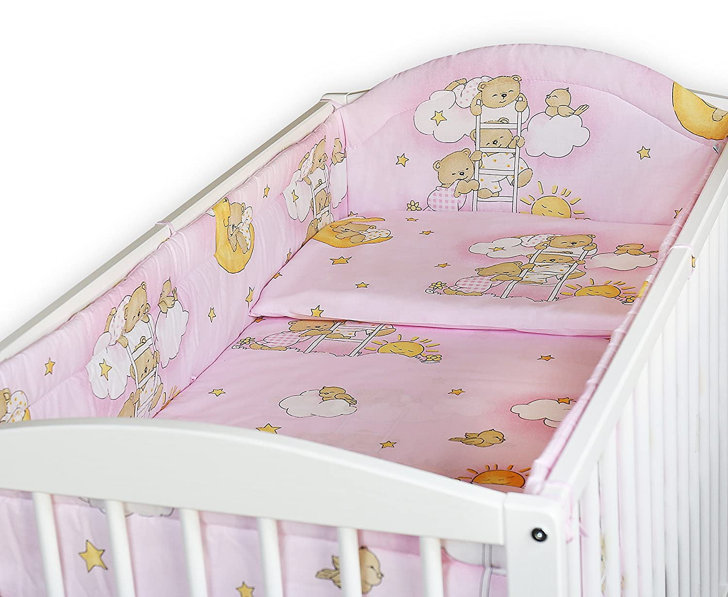 SAFARI PINK BABY BEDDING SET ALLROUND BUMPER PILLOW DUVET COVER FOR COT 120x60 SET 5 PC