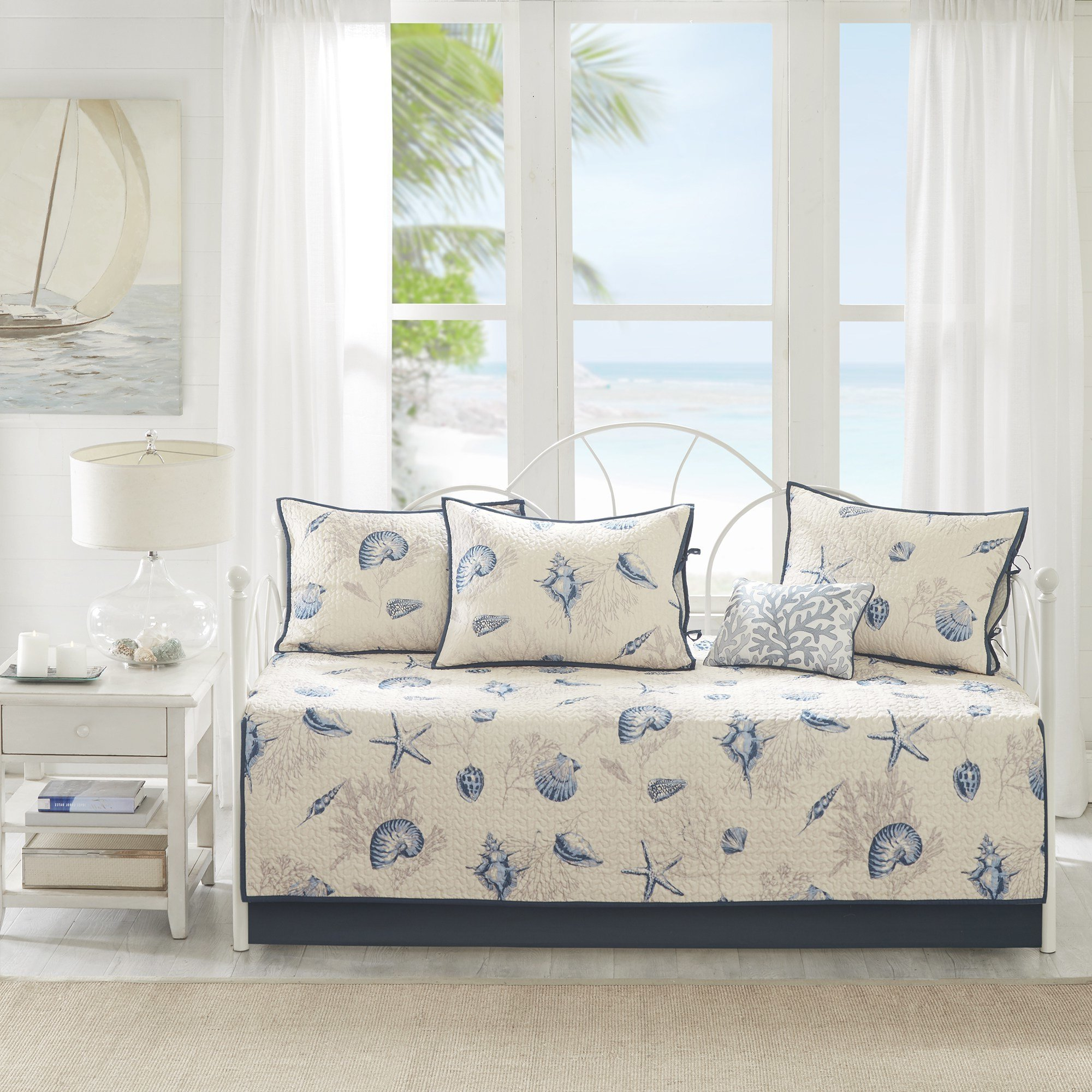 6 Piece Grey Blue Beach Theme Daybed Set Bedding, Nautical Coastal Tropical Ocean Sea Shells Starfish Coral Reefs Pattern Day Bed Bedskirt Pillows, Polyester