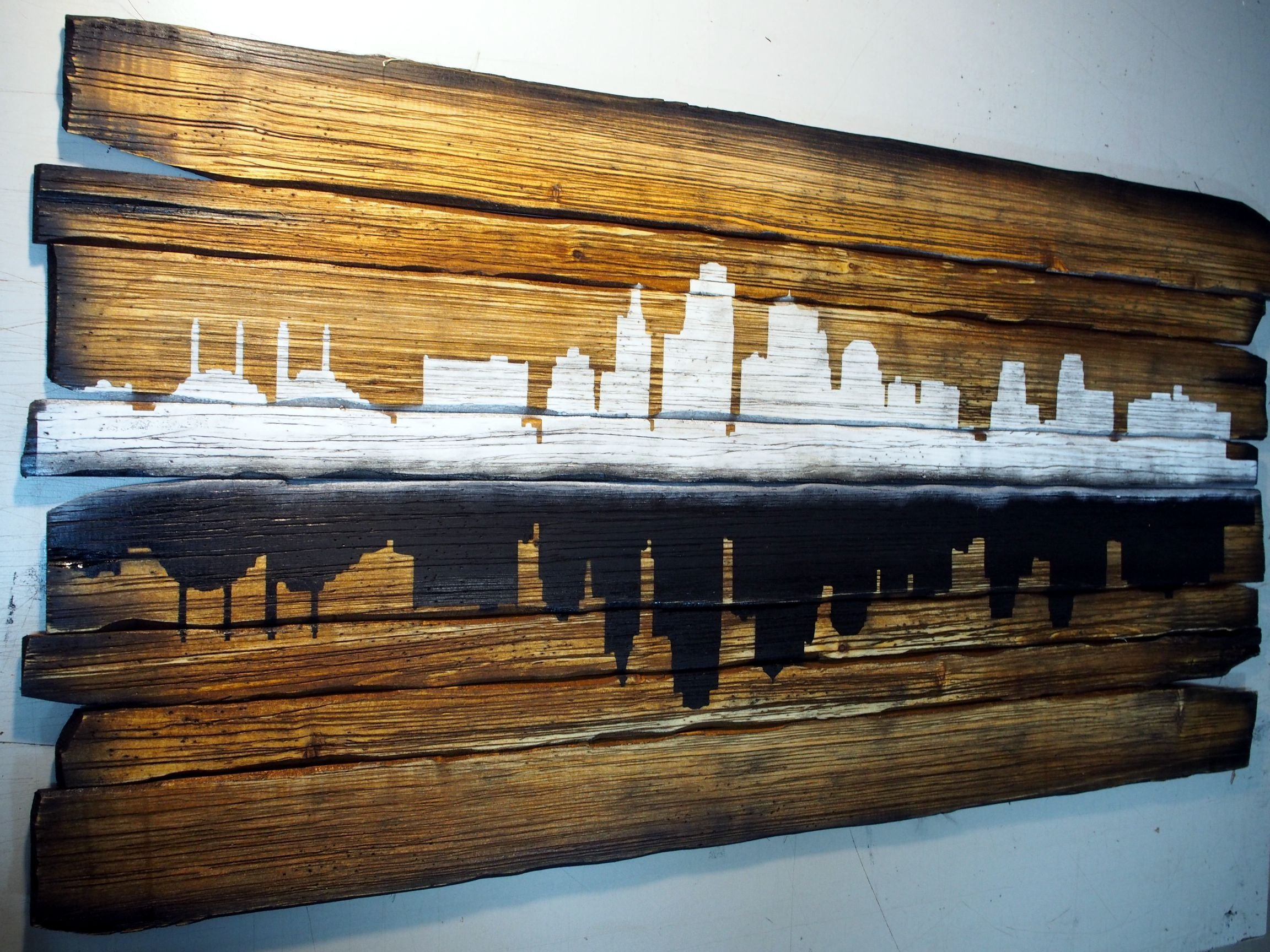 Kansas City Skyline artwork   Personalized gift, Rustic home decor, city's silhouette   Hand-painted skyline on distressed wood boards