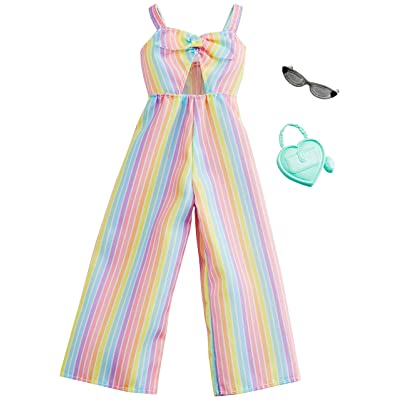Barbie Clothes: Rainbow-Striped Jumpsuit, Plus 2 Accessories Dolls, Gift for 3 to 7 Year Olds, Multicolor: Toys & Games