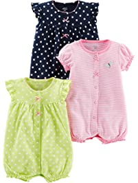 Simple Joys by Carter's baby-girls 3-pack Snap-up Rompers
