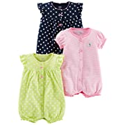 Simple Joys by Carter's Baby Girls' 3-Pack Snap-up Rompers, Navy Dot/Pink Stripe/Yellow Dot, Newborn