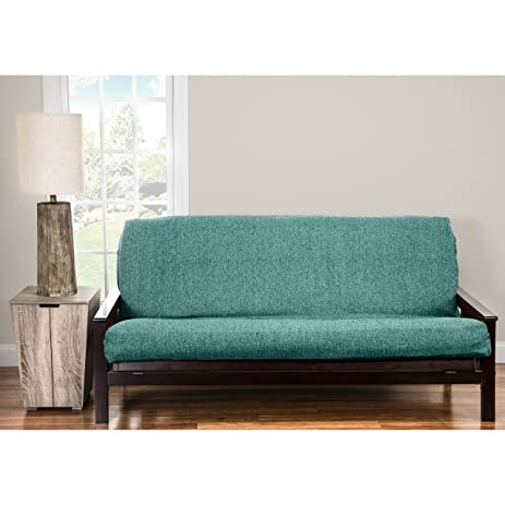 siscovers pologear belmont turquoise homespun futon cover   turqoise queen amazon    siscovers pologear belmont turquoise homespun futon      rh   amazon