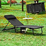 SoBuy® OGS27-Sch Chaise Longue Bain de soleil, Transat de Jardin Pliant, Chaise de camping, Fauteuil relax inclinable, pliable et réglable -Noir