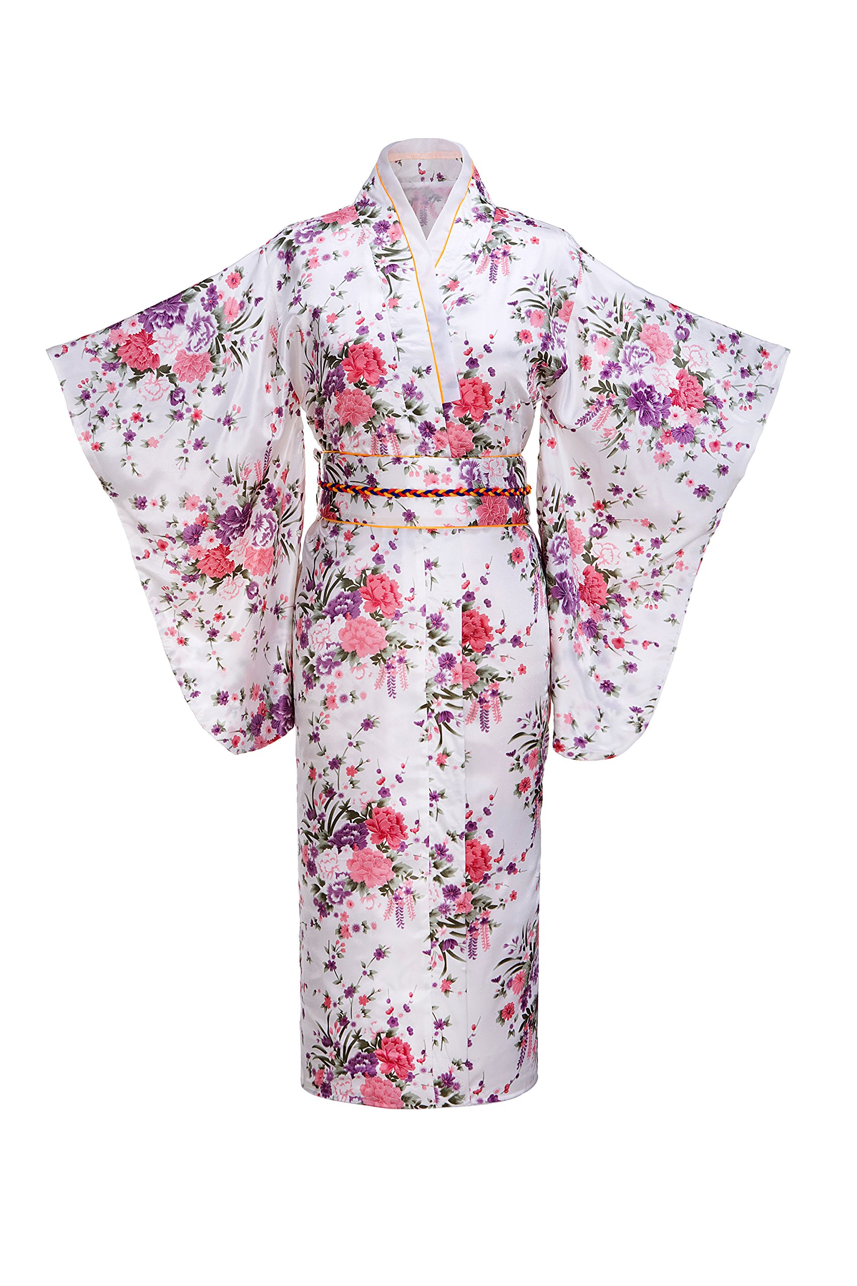 Old-to-new Women's Silk Traditional Japanese Kimono Robe With Floral Print White A