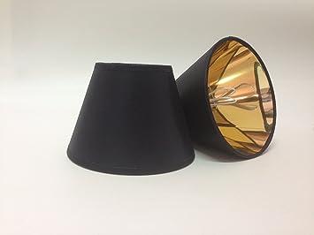Wandleuchte Schwarz Gold ~ Schwarz kleine kerze clip auf stoff lampenschirm gold futter