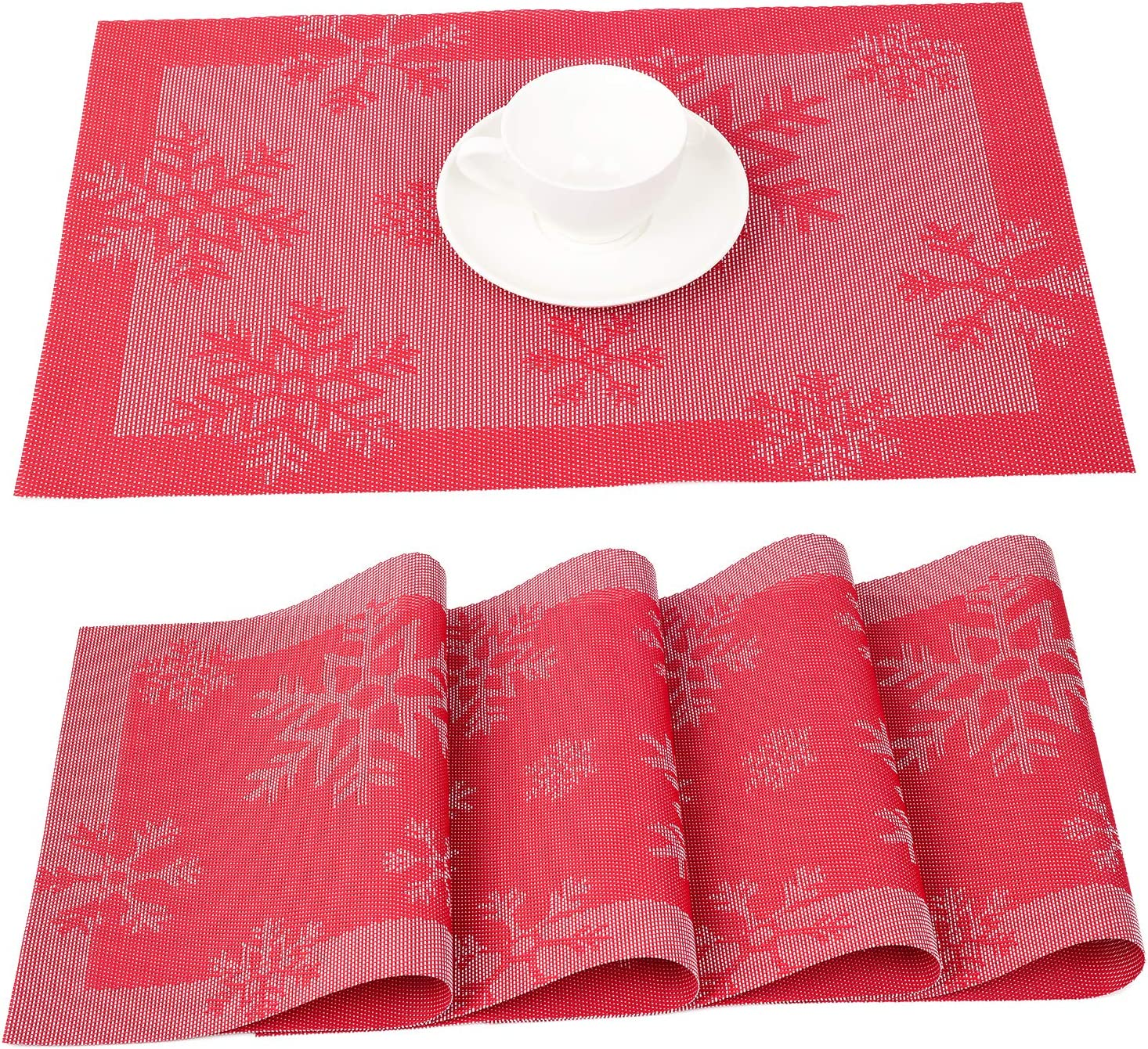 Lvydec Christmas Placemat, Set of 4 Red Placemats for Dining Table, Heat-Resistant and Washable for Holiday Table Decoration (Snowflake)