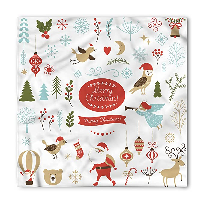 548ad947d Ambesonne Christmas Bandana, Christmas Graphic Elements Delicate Gentle Cute  Ornate Figures Festive Icons, Printed