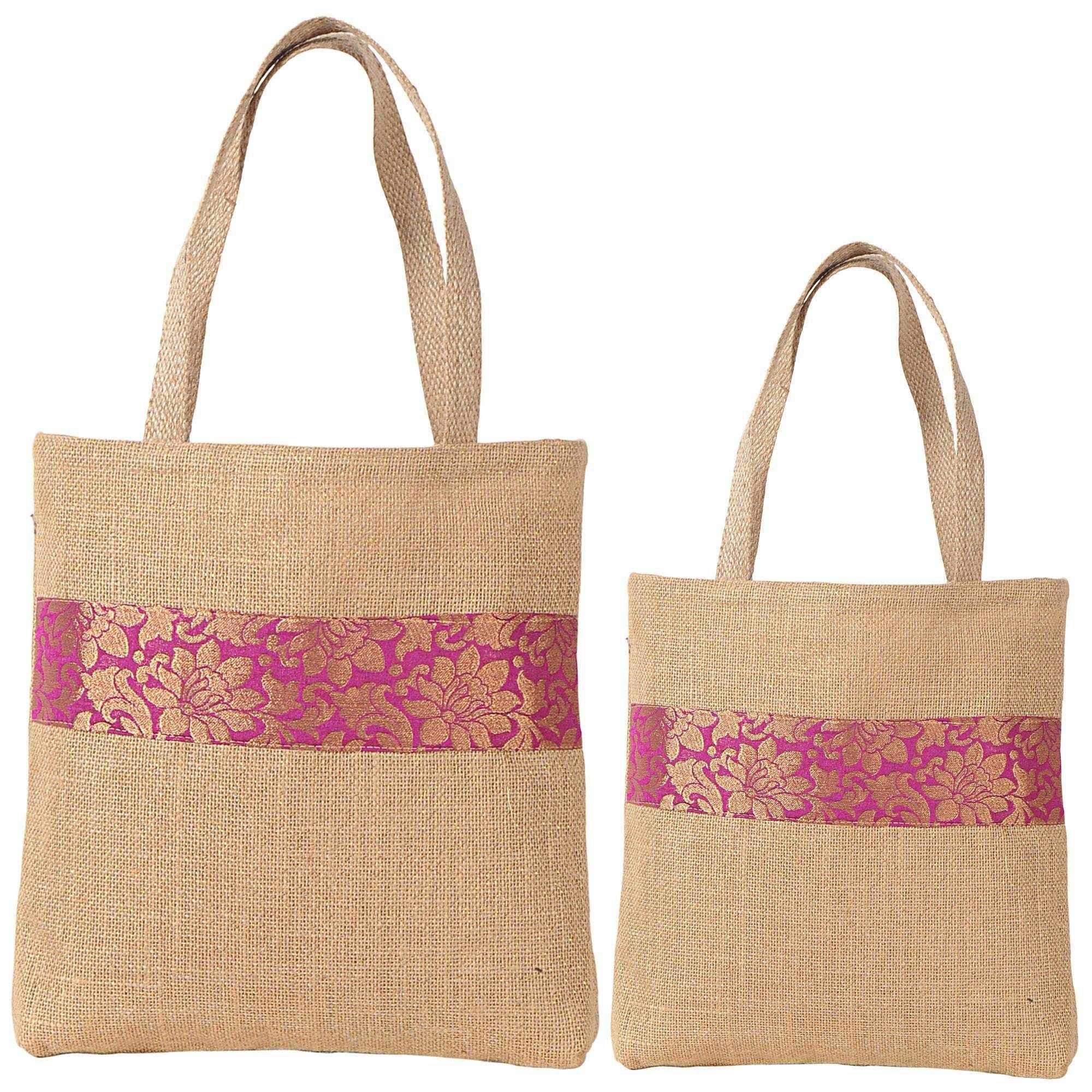 ShalinIndia - Set Of 2 Multipurpose Shopping Bags, Jute Shimmer,Natural Fiber-Eco Frienly,Non Woven Lining