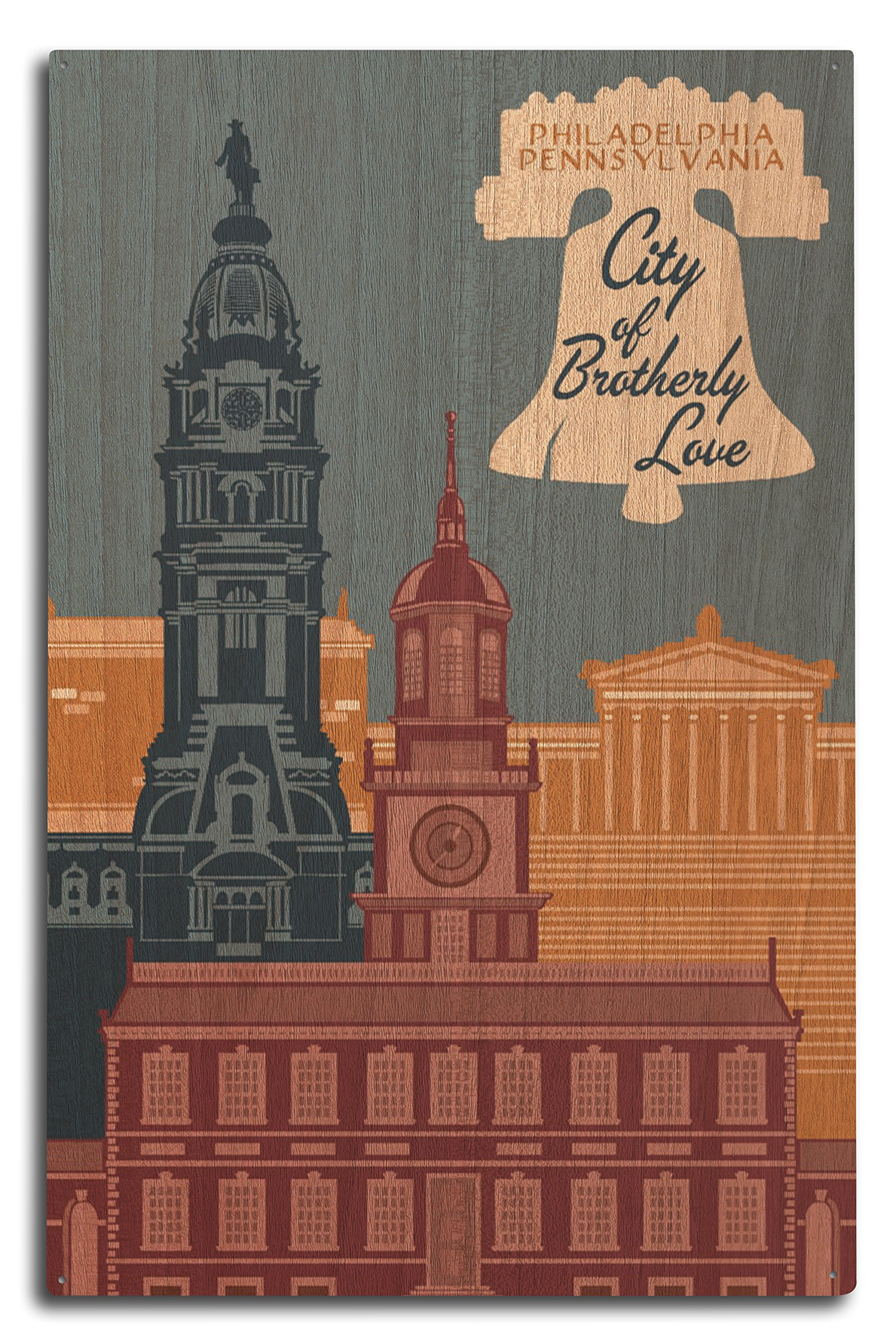 Lantern Press Philadelphia, Pennsylvania - City Vector - City of Brotherly Love (10x15 Wood Wall Sign, Wall Decor Ready to Hang)