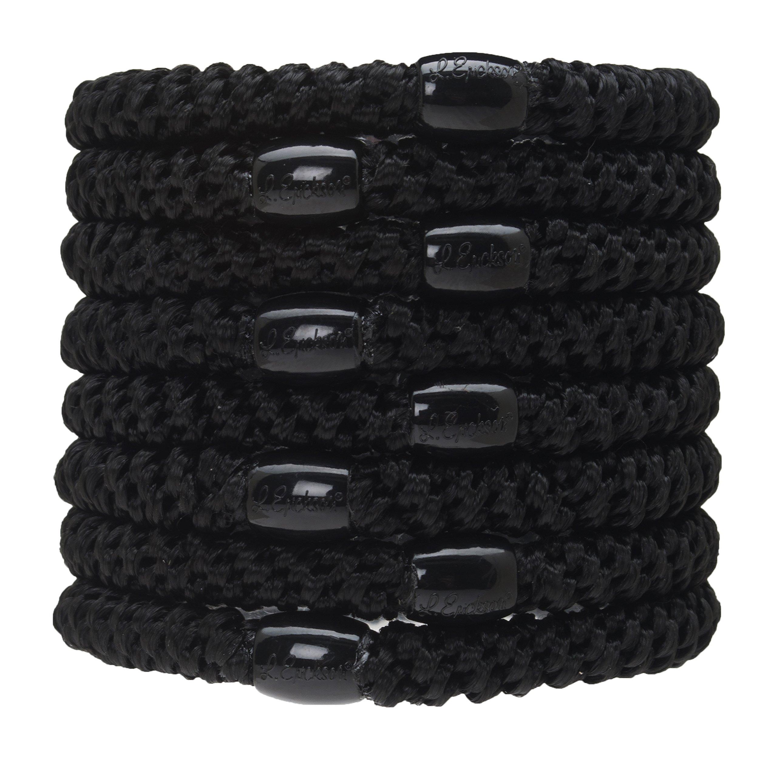 L. Erickson Grab & Go Ponytail Holders - Set of Eight - Black