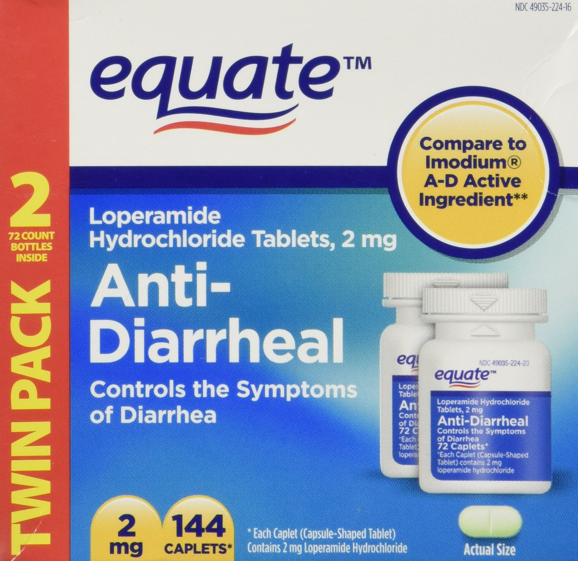 Equate - Anti-Diarrheal, Loperamide 2 mg, 144 Caplets (Compare to Imodium A-D)