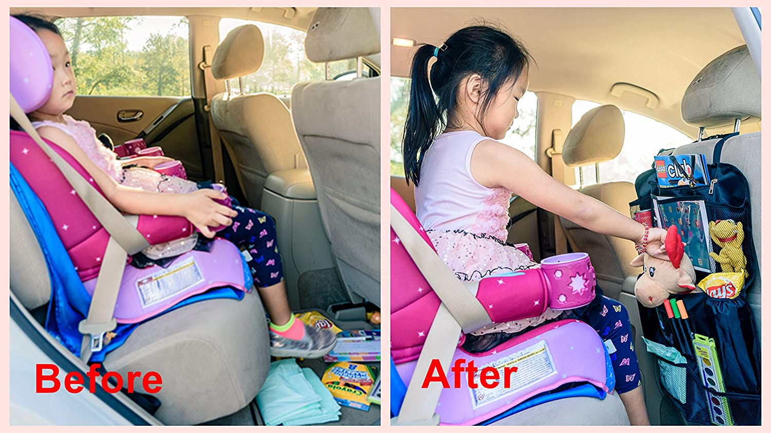Kick Mat /& Back Seat Protector Touch Screen Pocket Use as Backseat Organizer for Kids /& Toddlers Tablet Holder Styles II Car Back Seat Organizer with Insulated Thermal Pocket