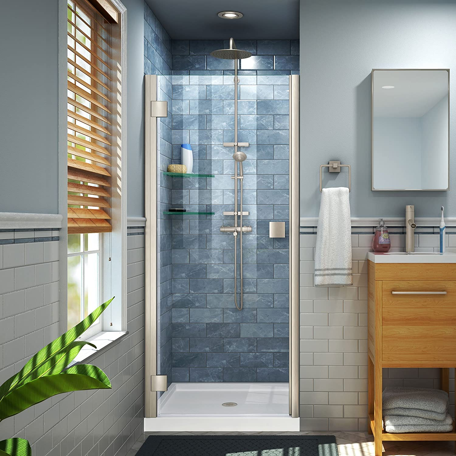 DreamLine Lumen 30-31 in. W x 66 in. H Semi-Frameless Pivot Shower ...