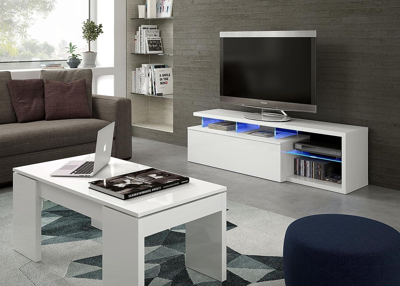 Habitdesign 026630BO - Modulo de TV Moderno, Mueble Salon, Color Blanco Brillo y Luces LED, Medidas: 150x41x43 cm de Altura: Amazon.es: Hogar