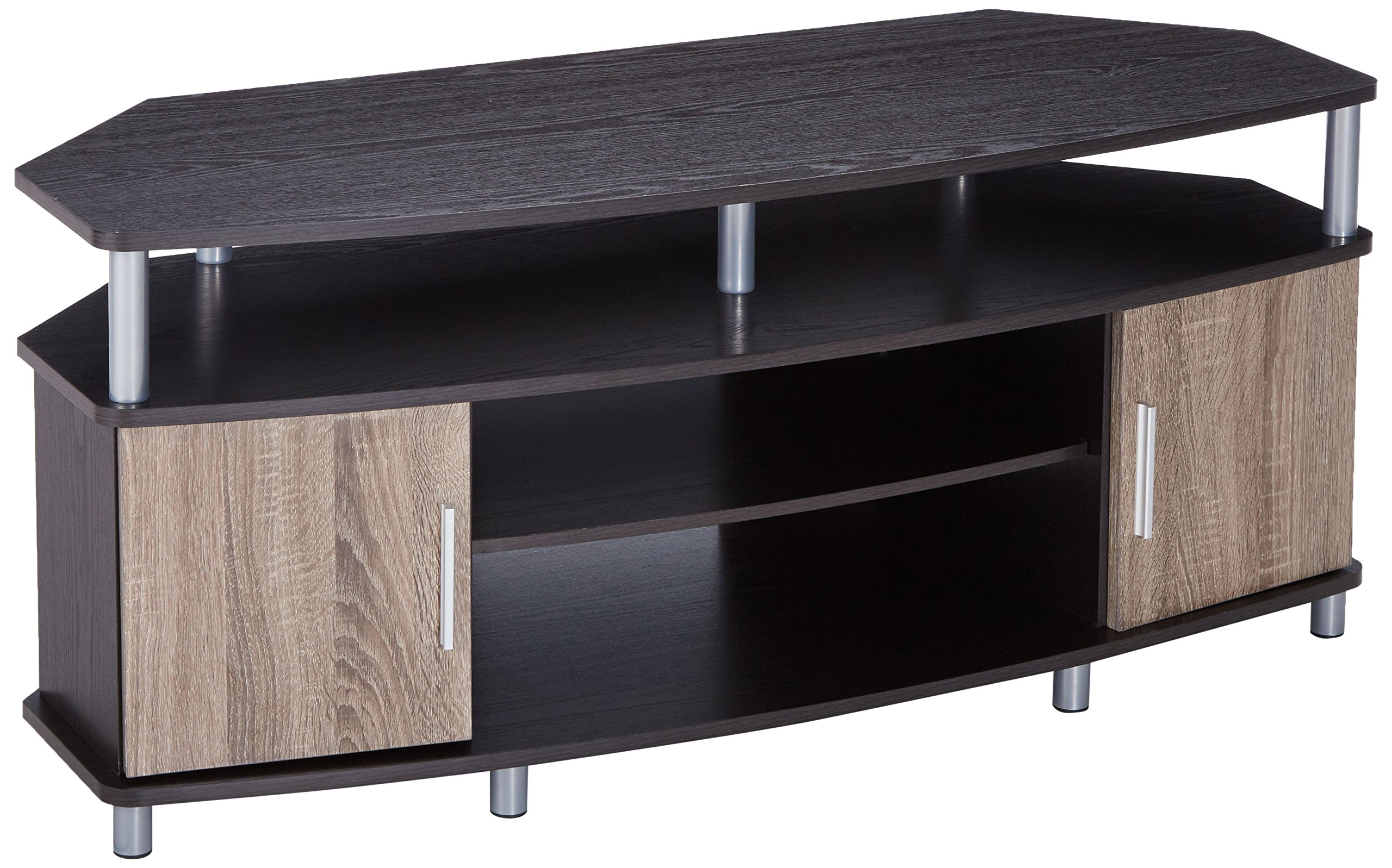 Ameriwood Home Carson Corner TV Stand for TVs up to 50'', Espresso/Weathered Oak