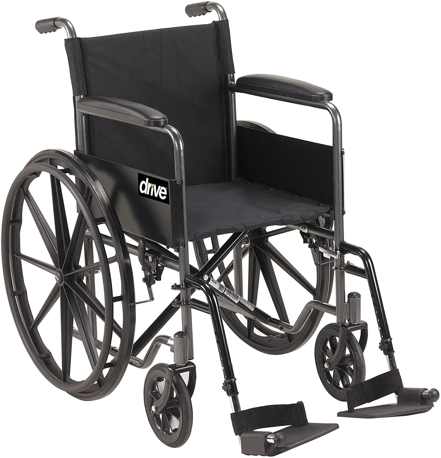 Drive Medical Silver Sport 1 Wheelchair with Full Arms and Swing Away Removable Footrest, Black 914e6mv6NvLSL1500_