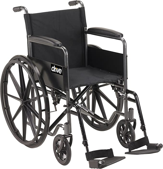 Drive Medical Silver Sport 1 Wheelchair with Full Arms and Swing Away