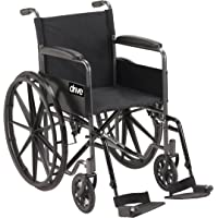 """Drive Medical Single Axle Silver Sport 1 Wheelchair, Silver Vein, Fixed Arm, 18"""", 1 Each 1 count"""