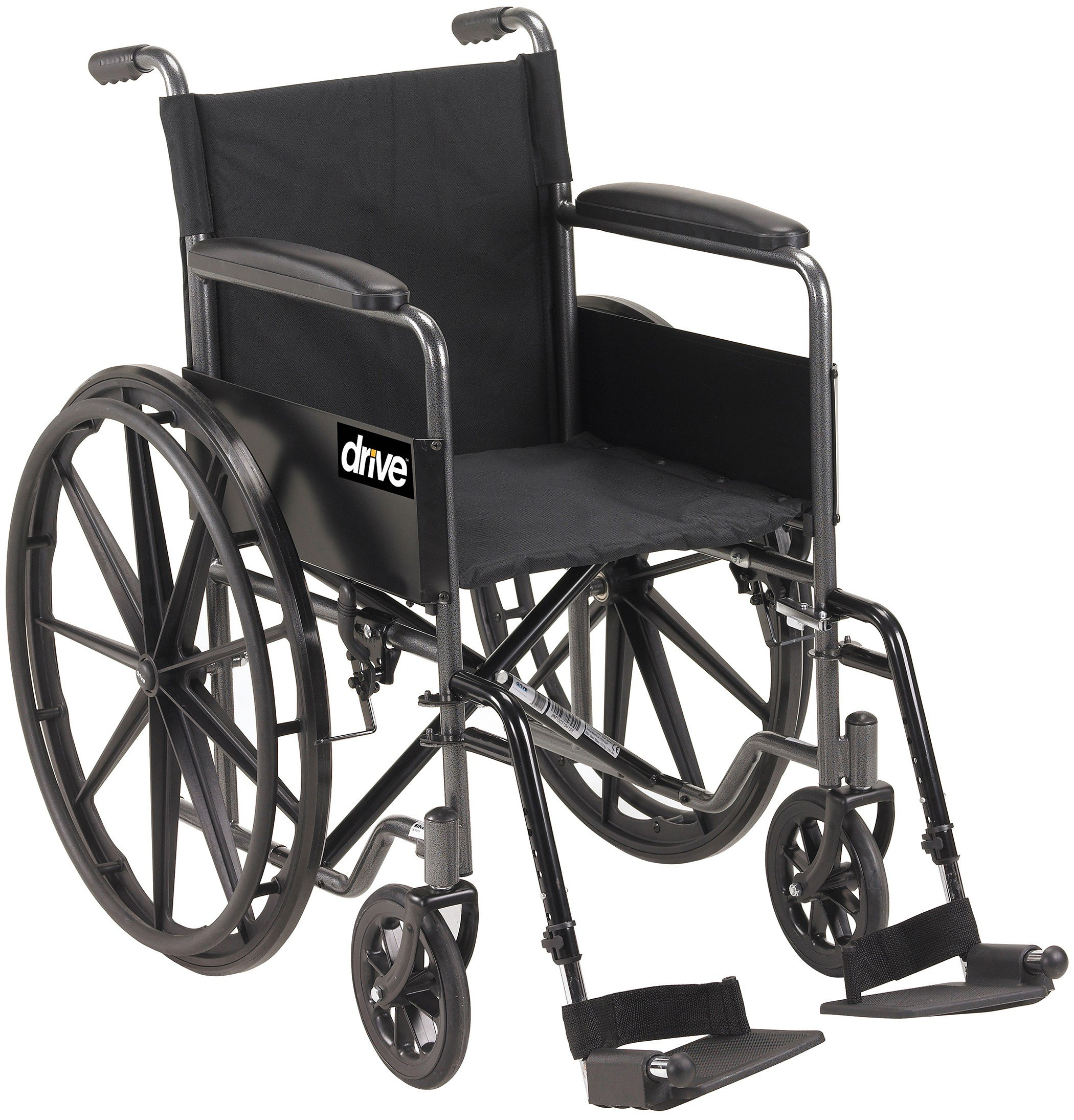 Drive Medical Silver Sport 1 Wheelchair with Full Arms and Swing Away Removable Footrest by Drive Medical