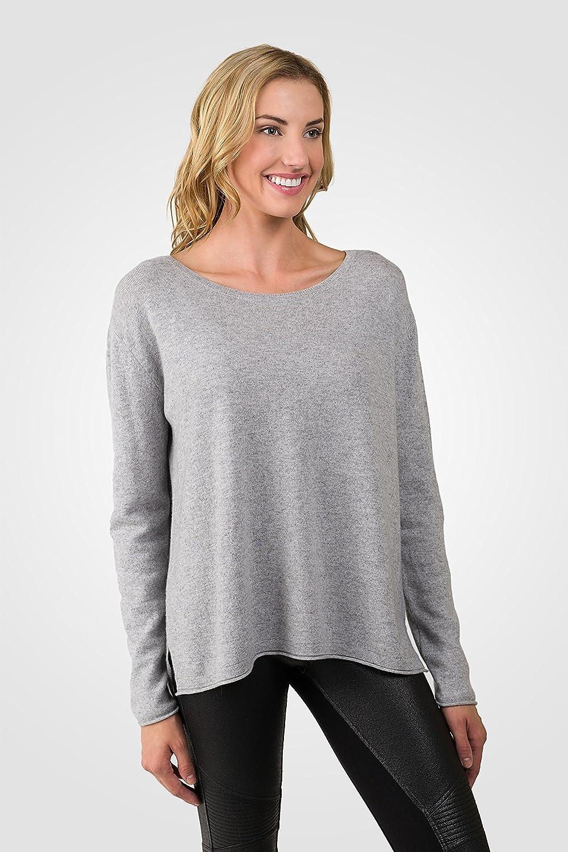 3b132d12625 JENNIE LIU Women s 100% Cashmere Long Sleeve Boatneck High Low Dolman  Sweater at Amazon Women s Clothing store
