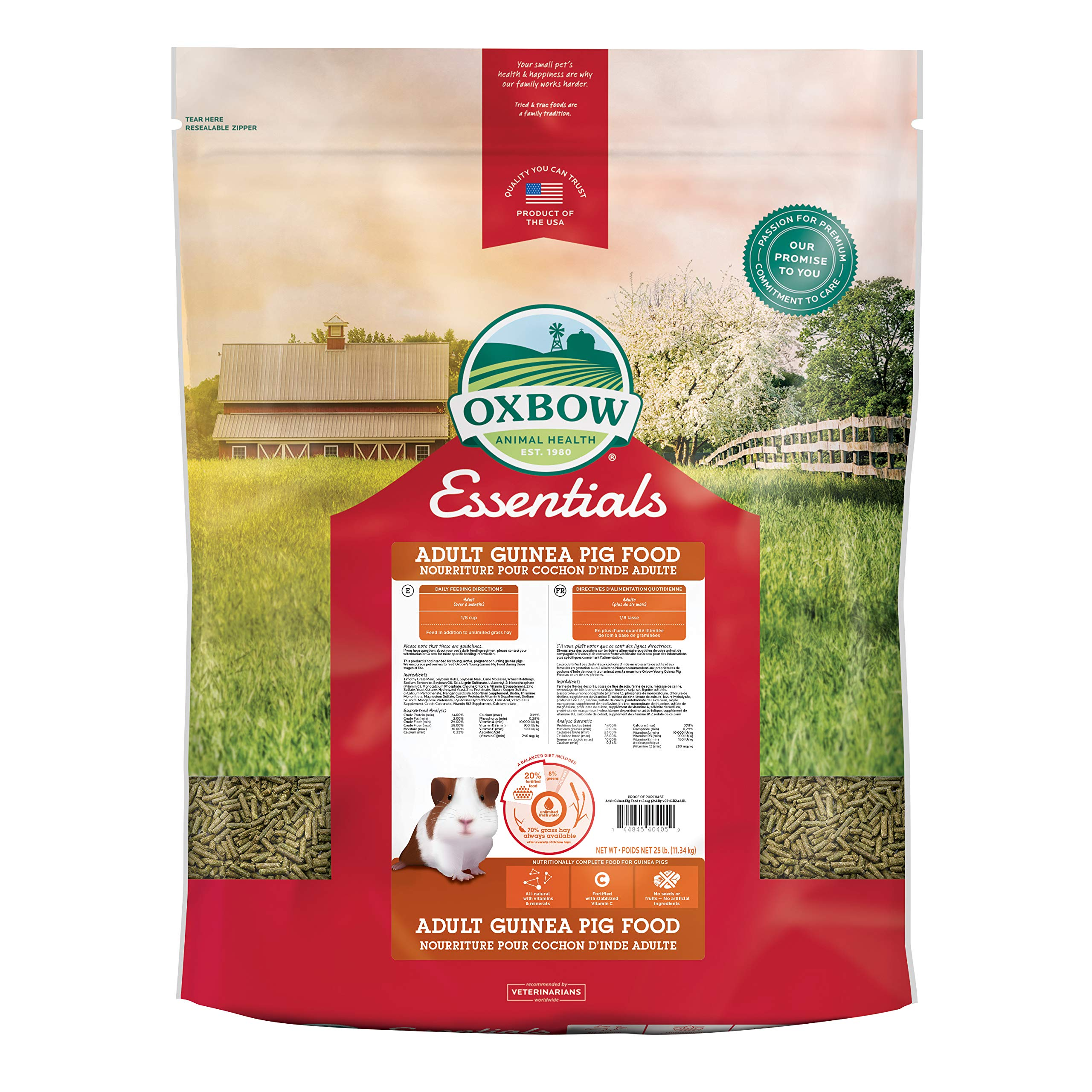 Oxbow Animal Health Cavy Cuisine Essentials Adult Guinea Pig Food, 25-Pound by Oxbow Animal Health