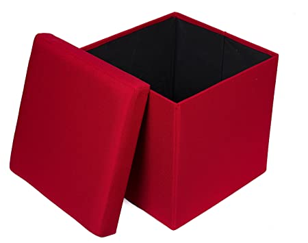 BirdRock Home Folding Storage Ottoman – Upholstered – 16 x 16 – Linen – Strong and Sturdy – Quick and Easy Assembly – Foot Stool – Red