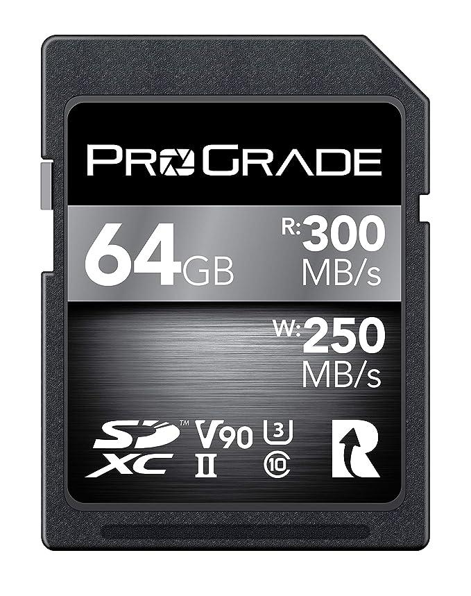 Tarjeta SD V90 (64GB):hasta 250MB/s de velocidad de escritura y 300MB/s de velocidad de lectura|Para vloggers profesionales, cineastas, fotógrafos y conservadores de contenido:por Prograde Digital