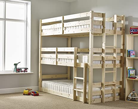 Three sleeper Bunkbed - 3ft Single Triple sleeper Bunk Bed - VERY STRONG  BUNK - Contract