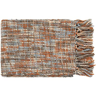 Surya Tabitha TAT-8206 Knit Hand Woven 100% Acrylic Rust 50  x 60  Throw
