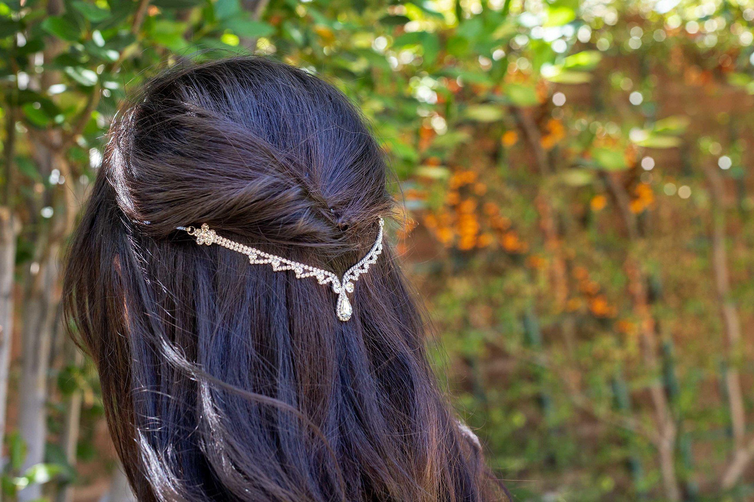 Silver Teardrop Wedding Hair Chain, Hair Vine
