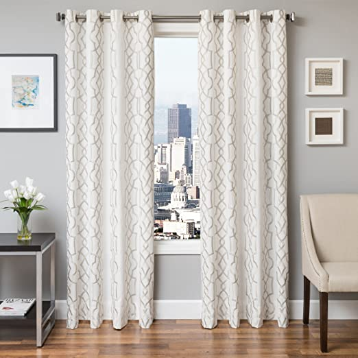 Softline Ransom Series Embroidered Window Panel//Treatment Curtain//Drape with Modern Grommet Top and Lush Pattern 54 W x 84 H in Natural