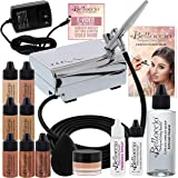 Belloccio Professional Beauty Airbrush Cosmetic Makeup System with 4 Medium Shades of Foundation in 1/4 Ounce Bottles - Kit I