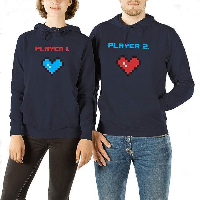 VivaMake Set de 2 Sudaderas para Parejas Hombre y Mujer con Diseño Player 1 y Player