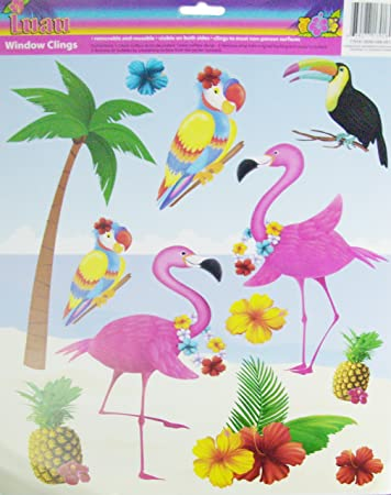 Amazoncom Window Clings Hawaiian Luau Tiki Theme Tropical - Bird window stickers amazon