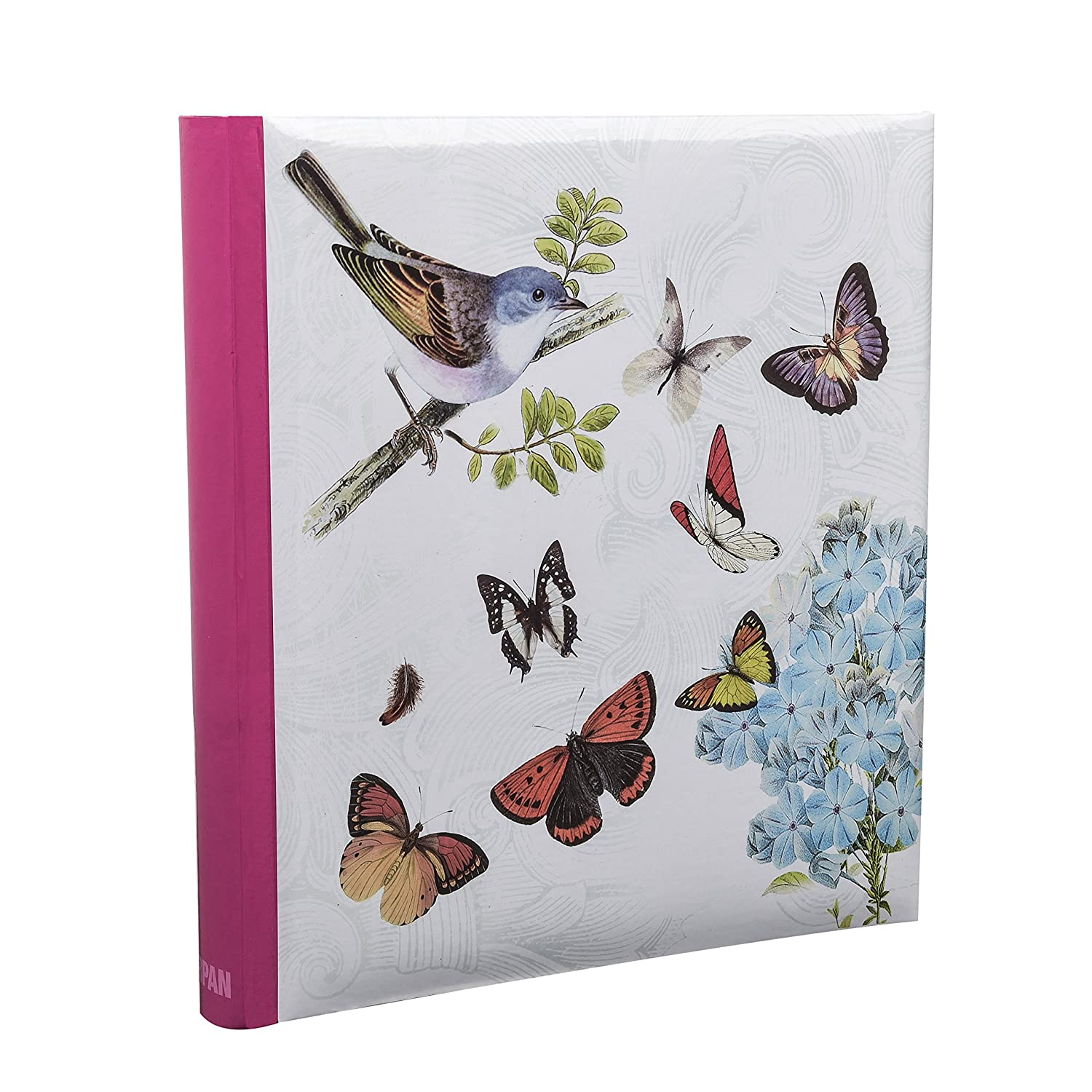 Arpan 5 x 7'' Large Slip In Memo Photo Album For 200 Holds Ideal Gift x 1 (Cream Butterfly Bird) BB57