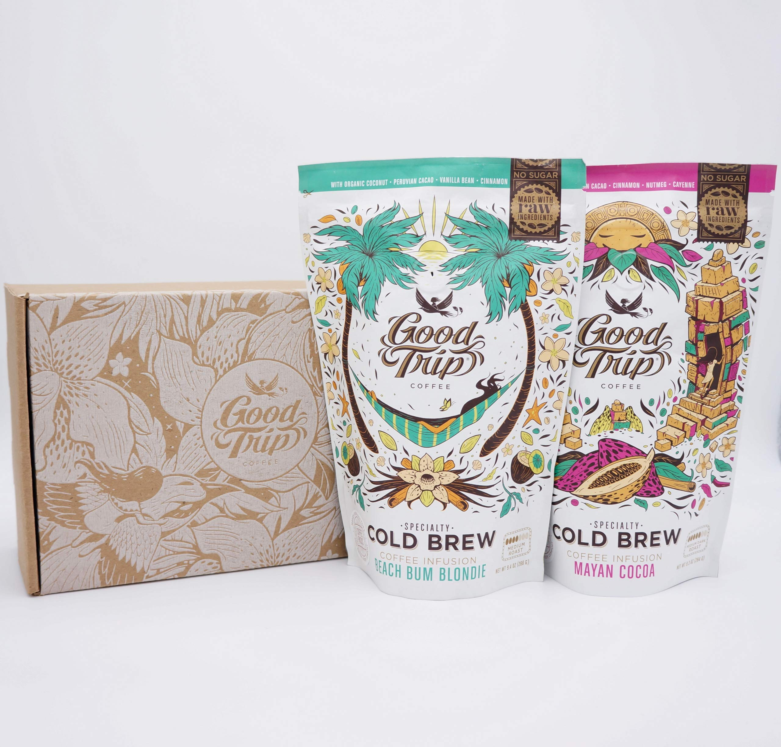 Good Trip Cold Brew Gift Set: Mayan Cocoa + Beach Bum Blondie Organic Coffee ~ As Seen in Anthropologie | Infused w/ Botanicals & Spices (Vegan, Gluten-Free, Keto, Non-GMO), 20 Cold Brew Bags by Good Trip