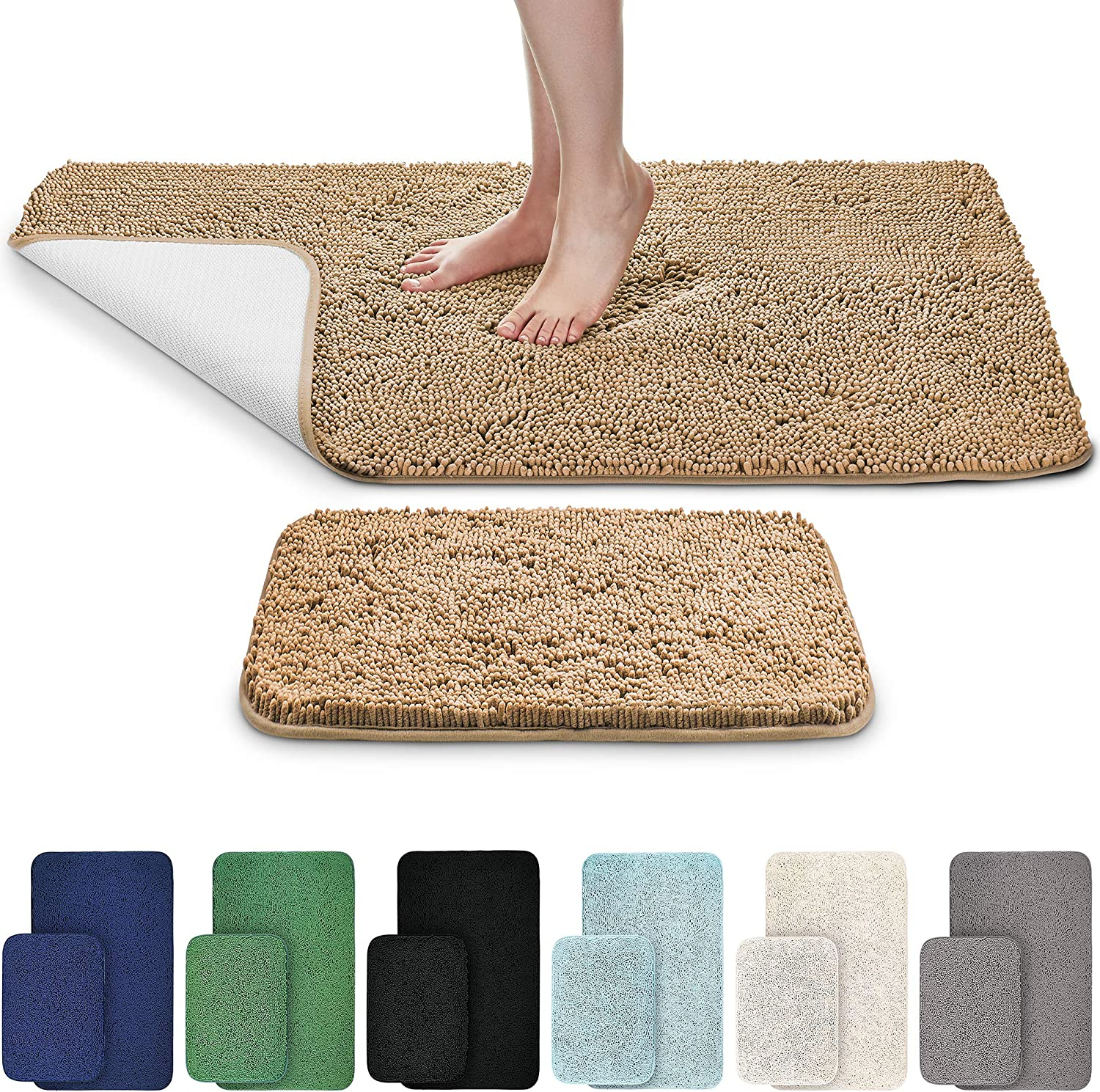 "EdenHomes Chenille Bath Mats for Bathroom 24"" x 17"" + 44"" x 26"" (Set of 2) - Extra Soft Non-Slip Fluffy Rug Bathtub Large Shower Mat, Plush Carpet, Super Absorbent, Quick Dry, Machine Washable (Beige)"