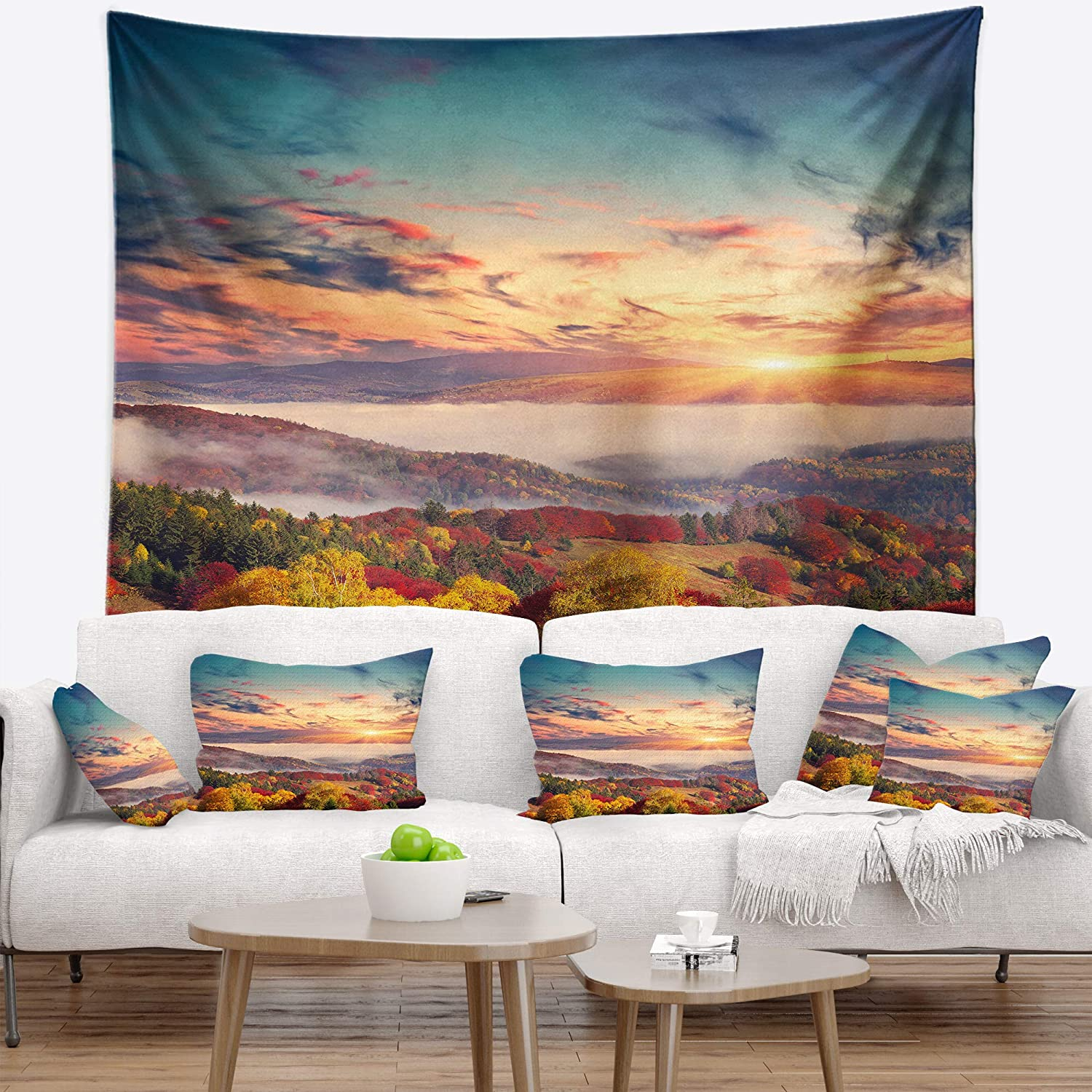 Designart TAP14595-32-39 ' Colorful Sunset in Foggy Mountains' Landscape Blanket Décor Art for Home and Office Wall Tapestry Medium: 32 in. x 39 in. Created On Lightweight Polyester Fabric