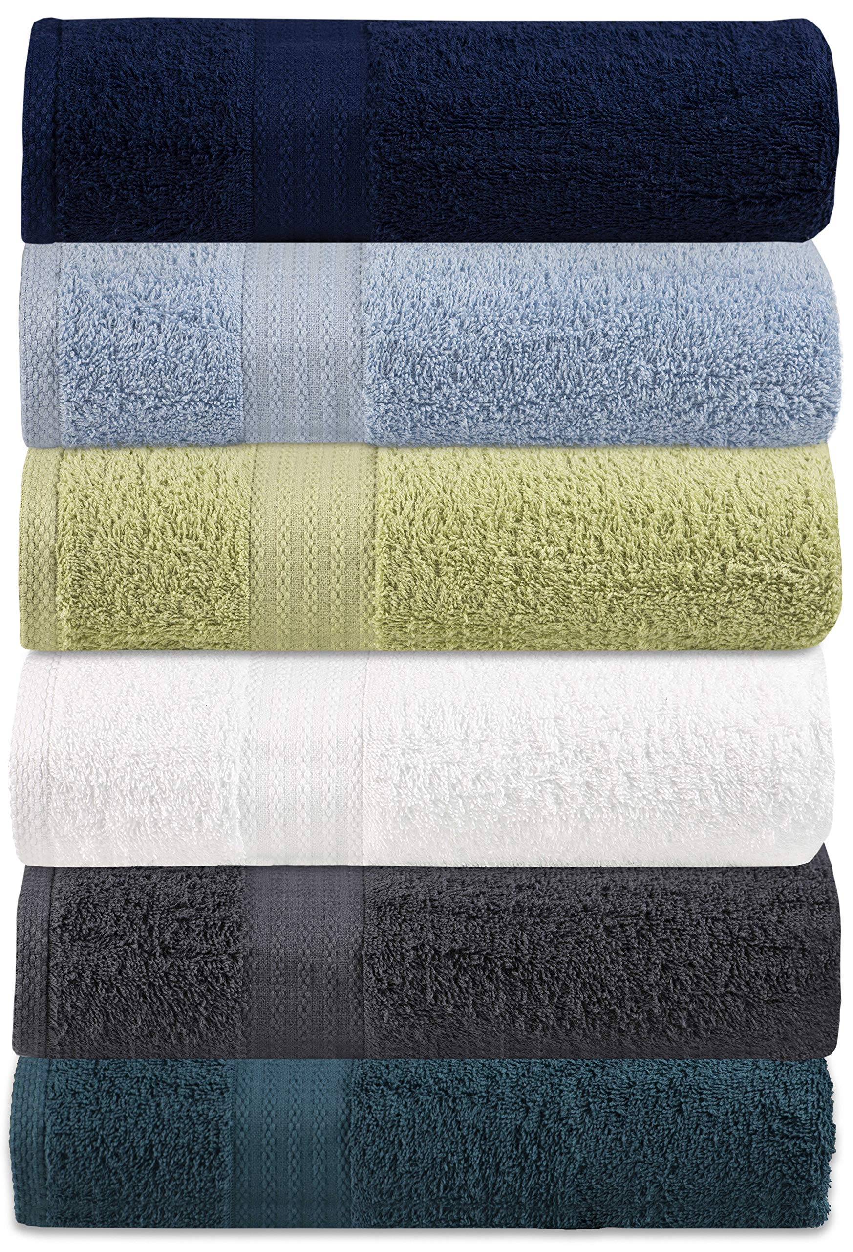 Glamburg 6 Pack Multi Color Bath Towel Set - 100% Pure Ringspun Cotton, 27x54 - Ideal for Everyday use, Quick Dry, Multipurpose - Highly Absorbent & Soft - Light Weight - Extraordinary Value Pack
