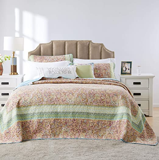 King Greenland Home Fashions GL-1704LK Barefoot Bungalow Palisades Pastel Bedspread Set 3-Piece