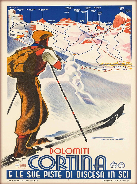 Dolomiti Cortina Ski Skiing Vintage Italy Travel Advertisement Poster Print