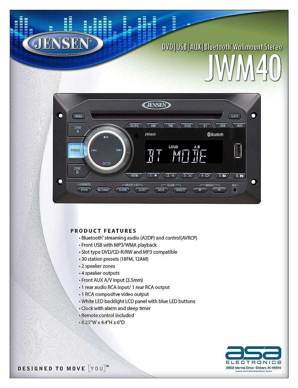 Jensen JWM40 DVD USB AUX BT Stereo