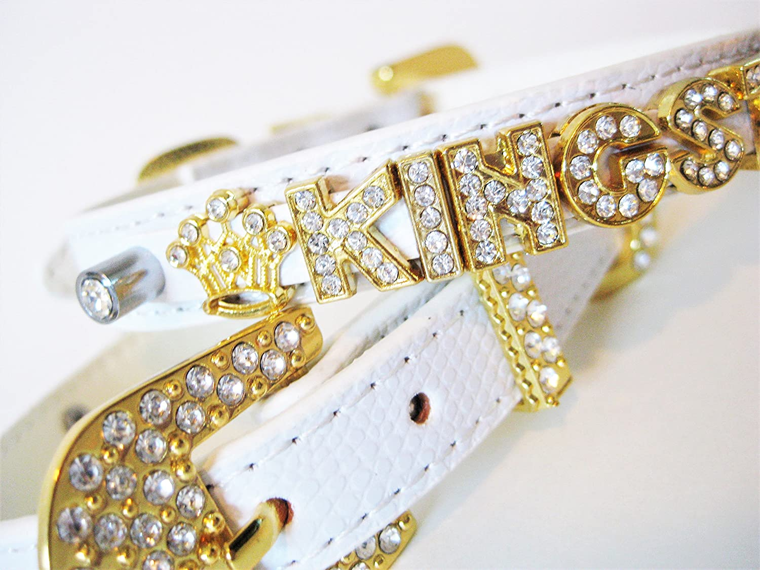 White Personalized Dog Collar | Bling Dog Collar | XS S M L