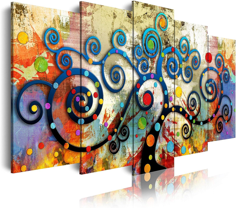DekoArte 488 Cuadro moderno en lienzo, XXL Estilo Abstracto árbol de la Vida Gustav Klimt de Colores, multi rojos, 5 piezas (200x100x3cm)