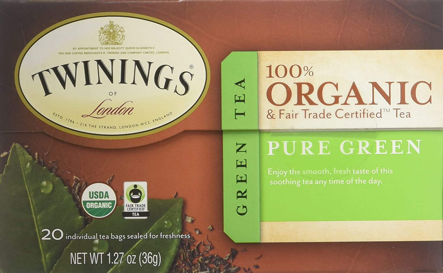 Twinings of London Organic and Fair Trade Certified Pure Green Tea Bags, 20 Count