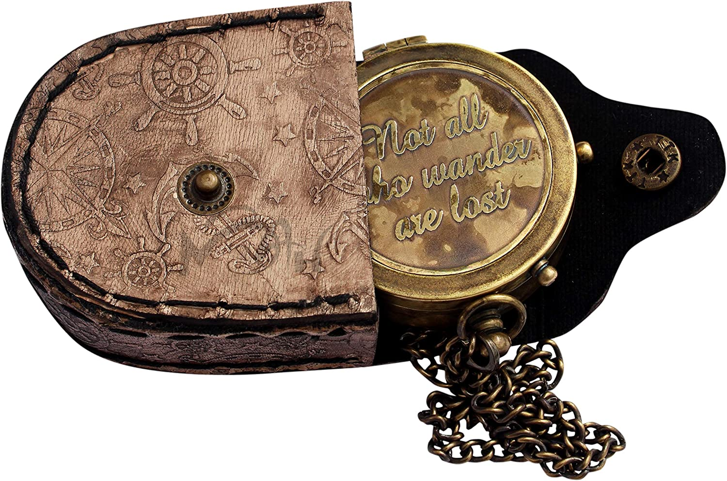 MAH Not All Who Wander are Lost Engraved Brass Compass with Leather Case C-3271 Pirates Compass Magnetic Navigational Instrument